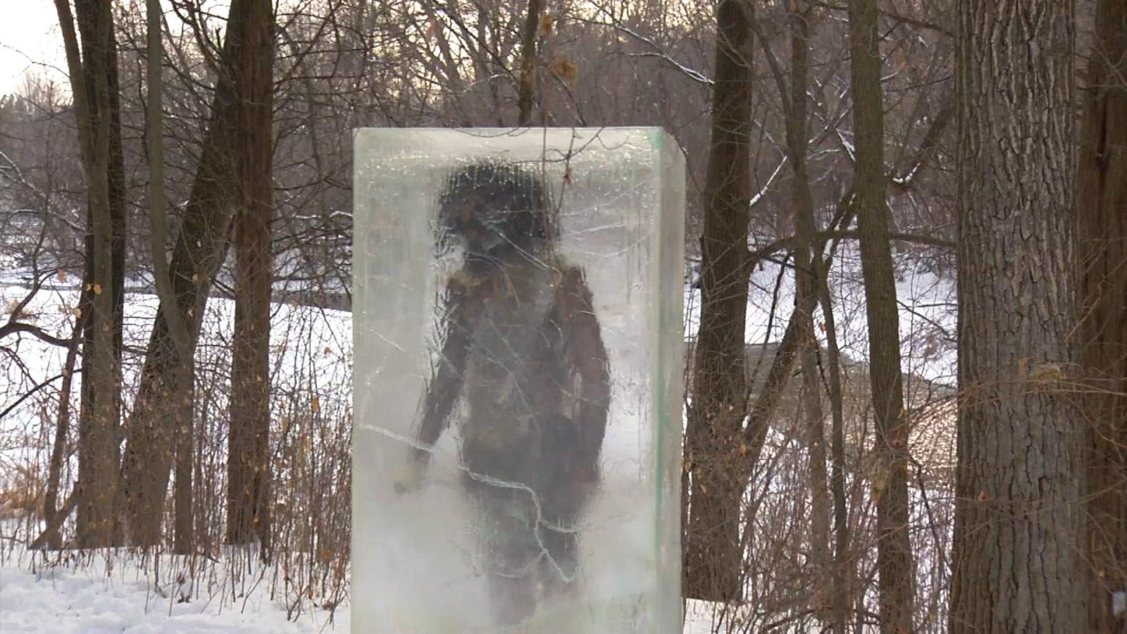 Frozen Caveman' Draws Curious Onlookers to Theodore Wirth Park